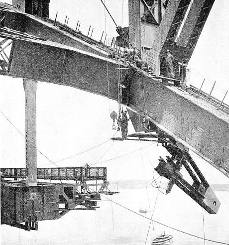 This picture shows one of the hangers being fixed into position on the Sydney Harbour bridge